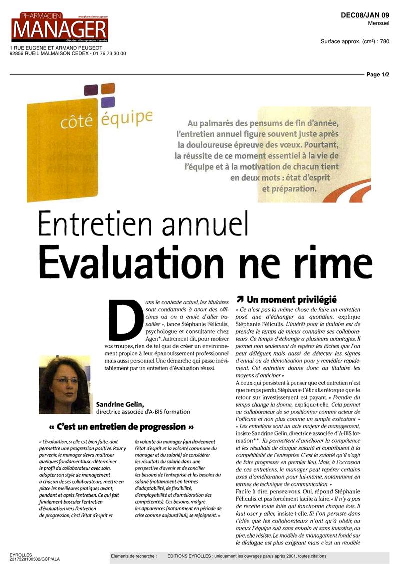 """Page 1 de l'article """"Entretien annuel, Évaluation ne rime pas avec punition"""""""