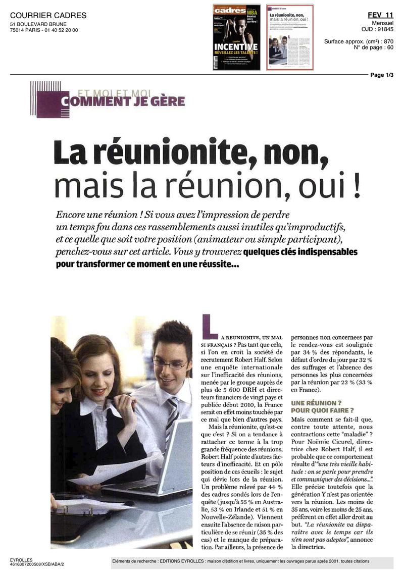 """Page 1 de l'article """"La réunionite, non mais la réunion oui !"""""""