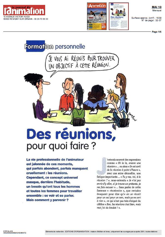 """Page 1 de l'article """"Des réunions pour quoi faire ?"""""""